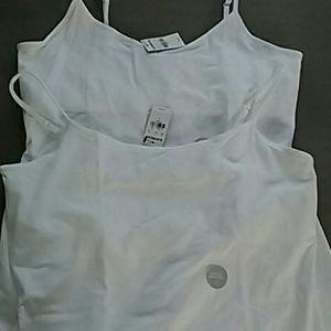 2 Express white Camis adjustable straps shelf bra